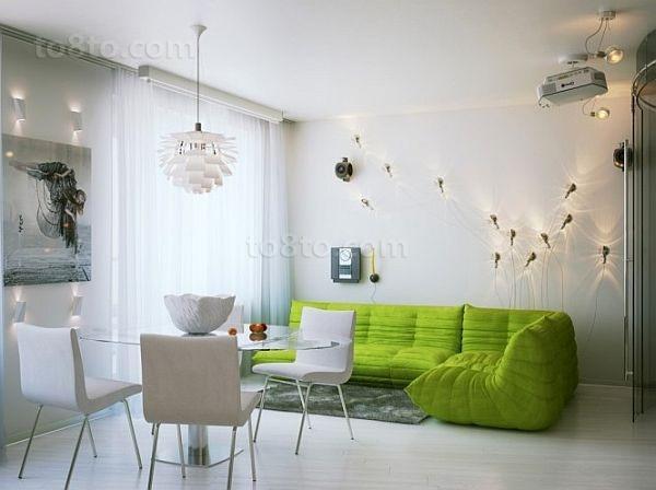 绿色宁谧的现代小户型客厅飘窗装修效果图大全2014图片