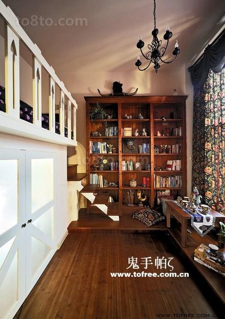 复古的田园风格复式楼书房装修效果图大全2014图片