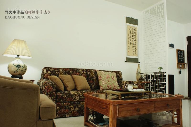90平米田园风格小户型客厅隔断效果图