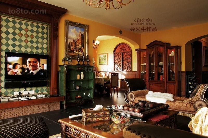 美式乡村风格客厅电视墙效果图