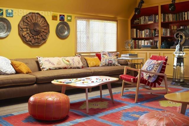 美式两室一厅客厅博古架装修效果图大全2012图片