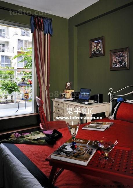 复古的田园风格复式楼卧室装修效果图大全2014图片