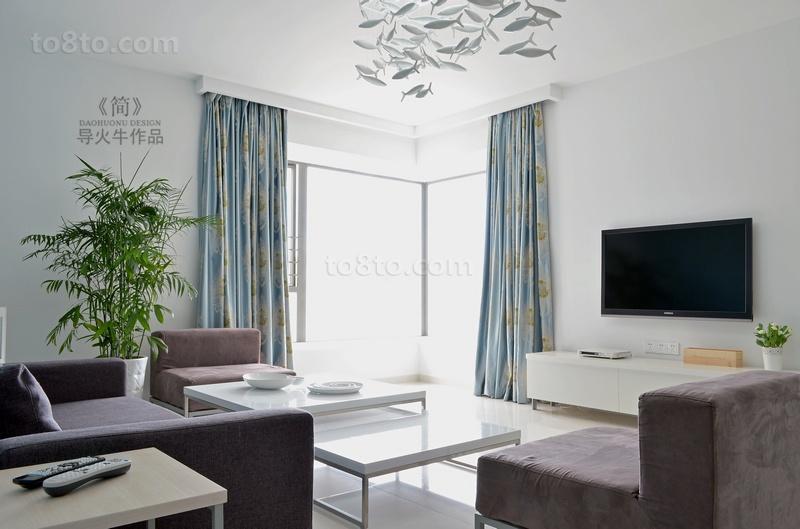 90平米小户型简约时尚的客厅电视背景墙装修效果图