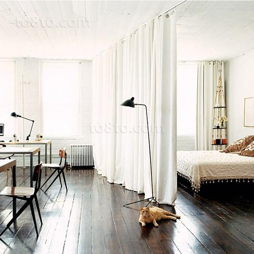 中粮锦云小户型窗帘隔断的卧室装修样板房