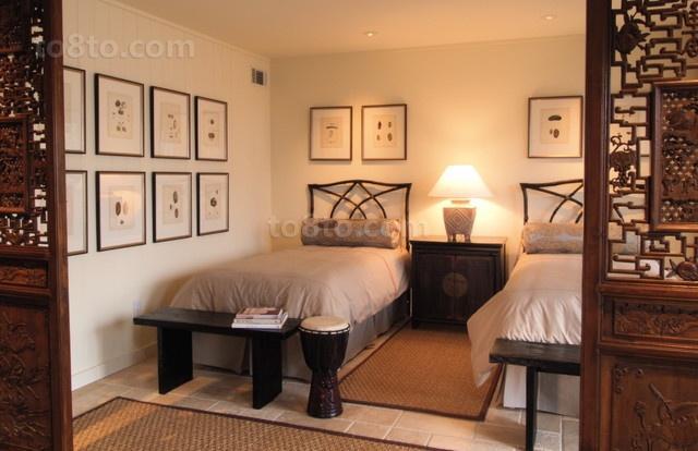 中式古韵的二居室小卧室隔断装修效果图大全2014图片