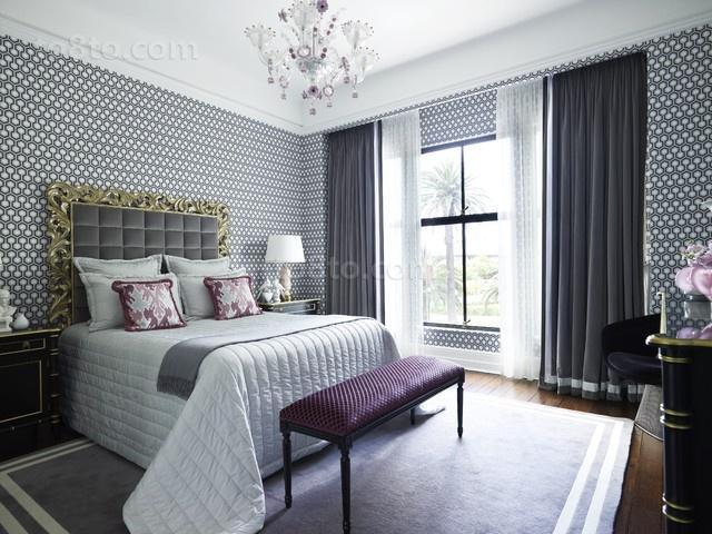 北欧小清新二居室卧室窗帘装修效果图大全
