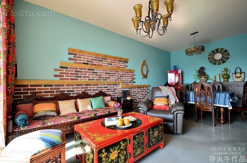 波西米亚风来袭 三室两厅客厅沙发背景墙装修样板房
