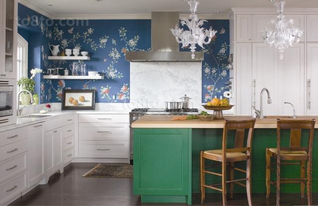 两室一厅美式田园厨房橱柜装修效果图