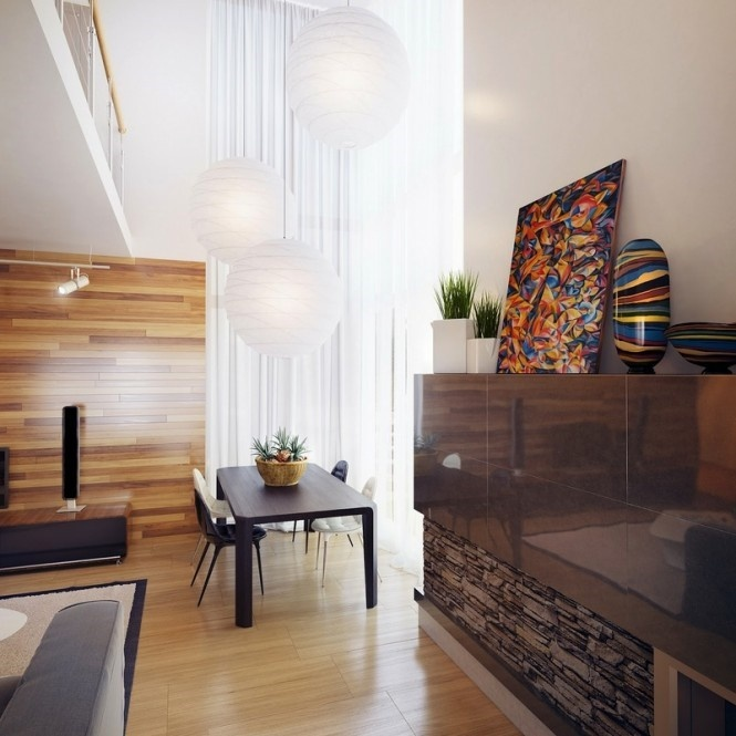 精选面积120平复式客厅混搭装修设计效果图