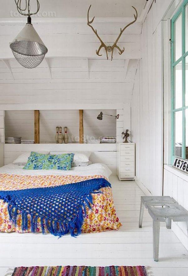 14万打造纯白欧式风格二居阁楼卧室装修效果图大全2014图片