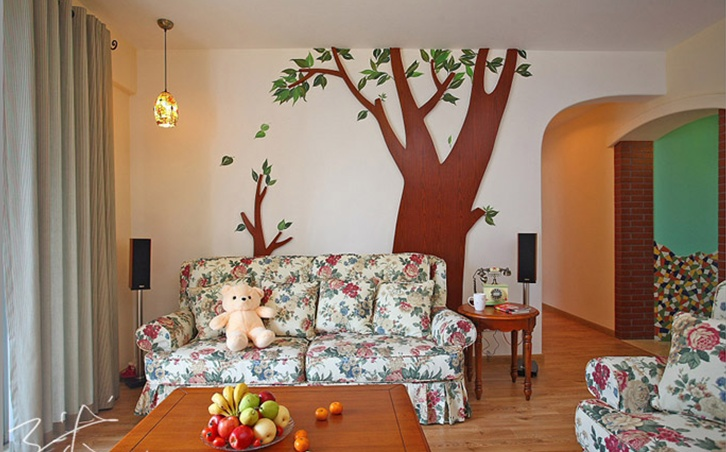 浪漫的田园风格两室一厅装修效果图