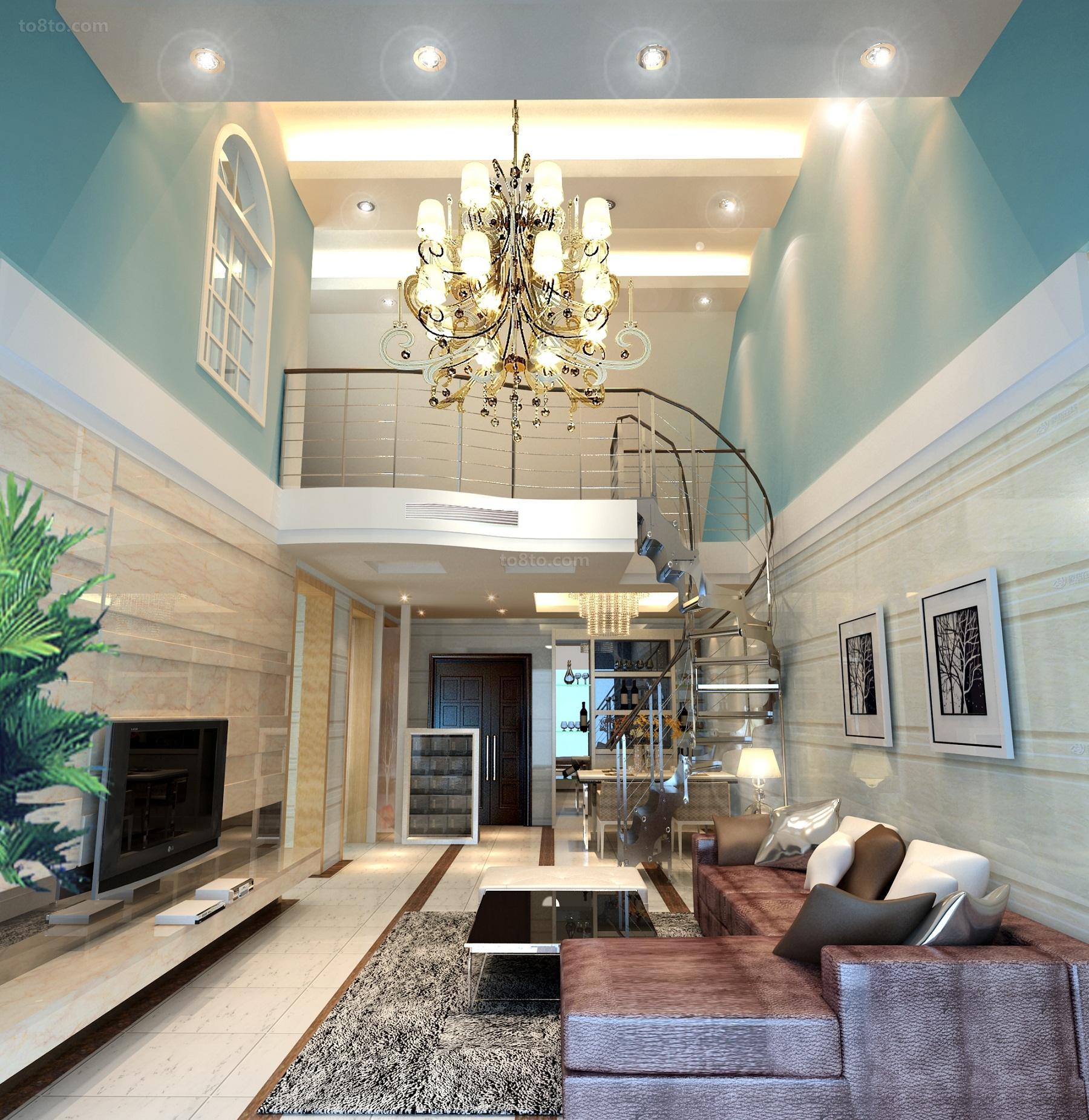热门复式客厅简约装修设计效果图片欣赏