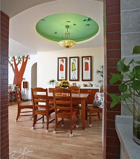 浪漫的田园风格两室一厅餐厅吊顶装修效果图