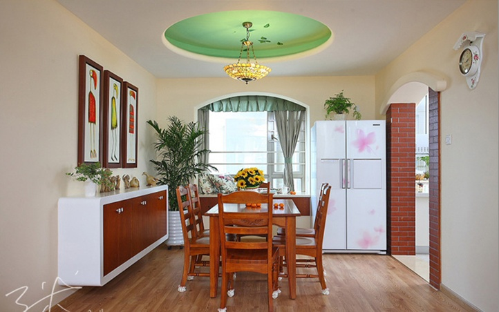 浪漫的田园风格两室一厅餐厅装修效果图