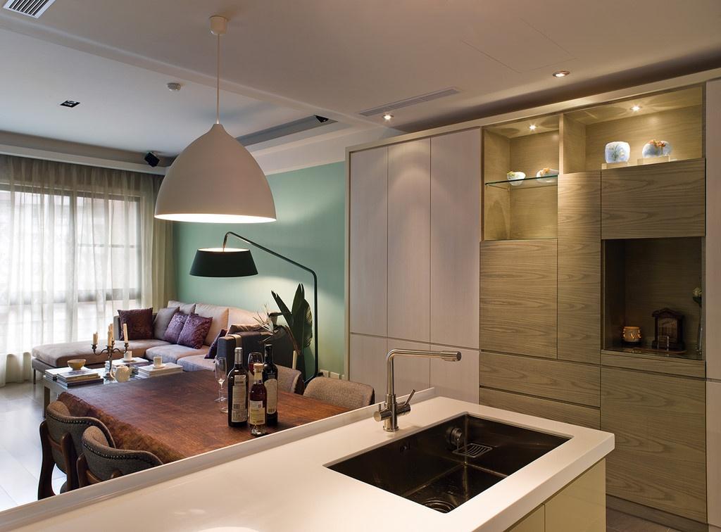 80后白领简欧三居室厨房橱柜装修效果图