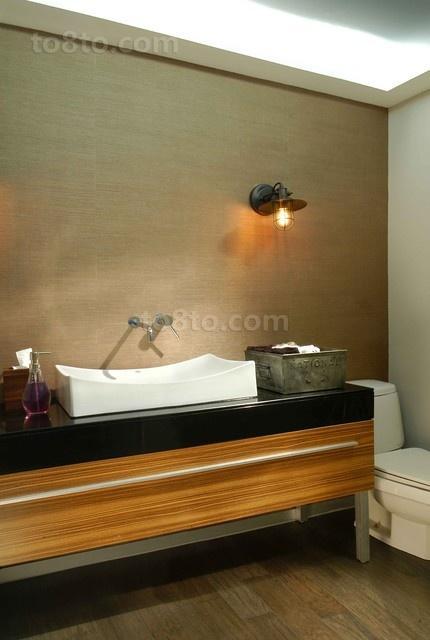 89平米小户型质感的香槟色打造欧式卫生间装修