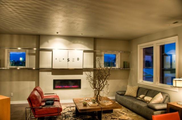 30万打造现代风格复式客厅样板房装修效果图