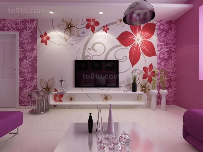 三居室紫色绚丽的客厅但是背景墙装修效果图大全2014图片