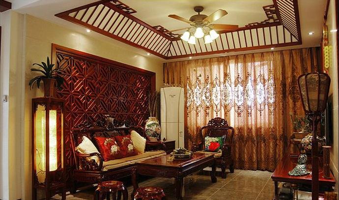 7万打造中式风格一居室客厅吊顶装修效果图大全2014图片