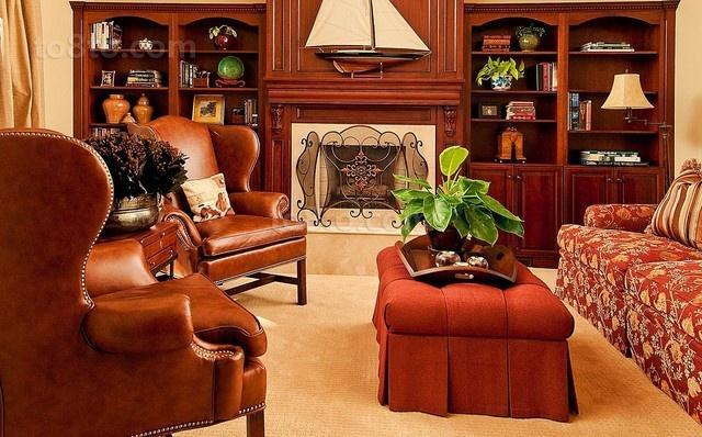 二居房华丽的美式客厅博古架装修效果图大全2014图片