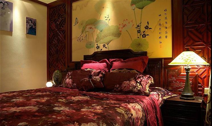 17万打造中国风主题中式风格卧室装修效果图大全2014图片