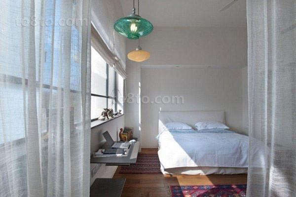 北欧清新的别墅卧室窗帘装修效果图大全2014图片