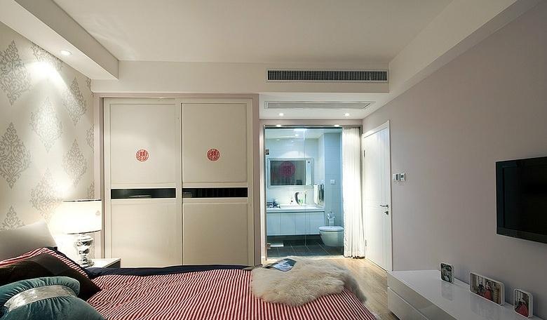 17万打造豪华现代风格婚房二居卧室装修效果图