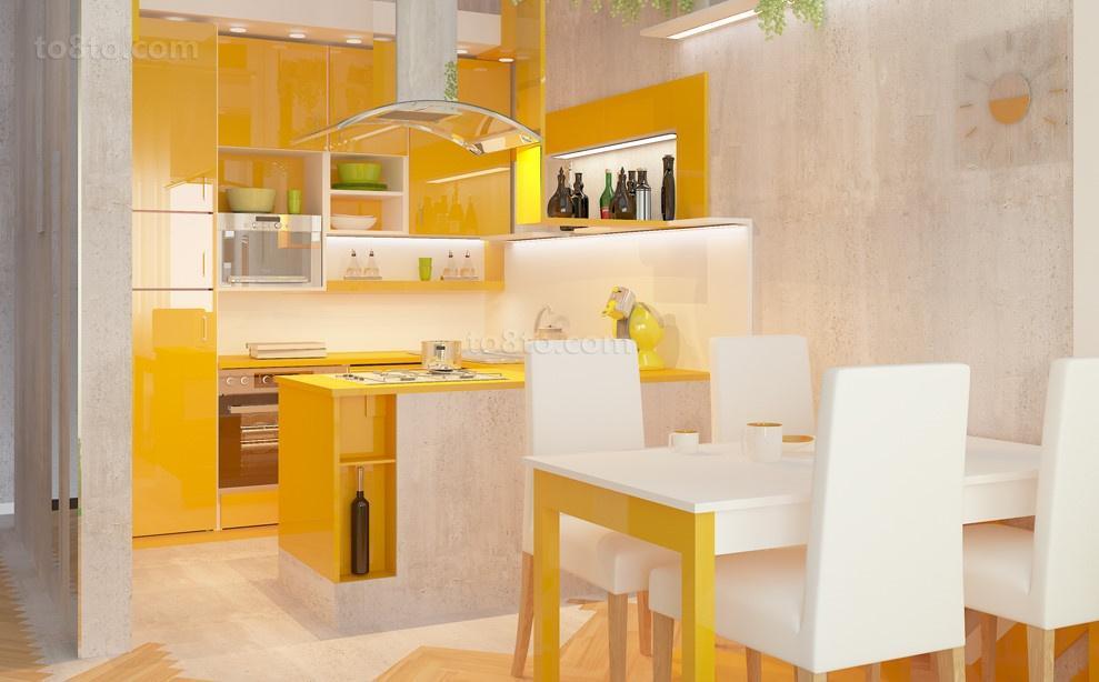 橙色浪漫的现代风格小户型厨房橱柜装修效果图