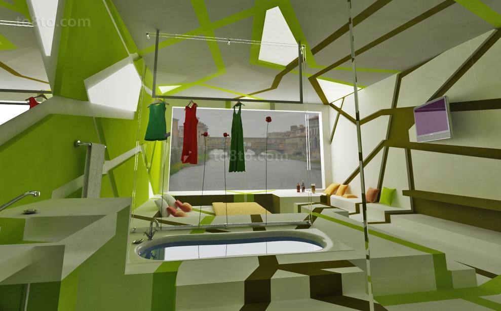 创意的鸟巢打造小户型卫生间装修效果图