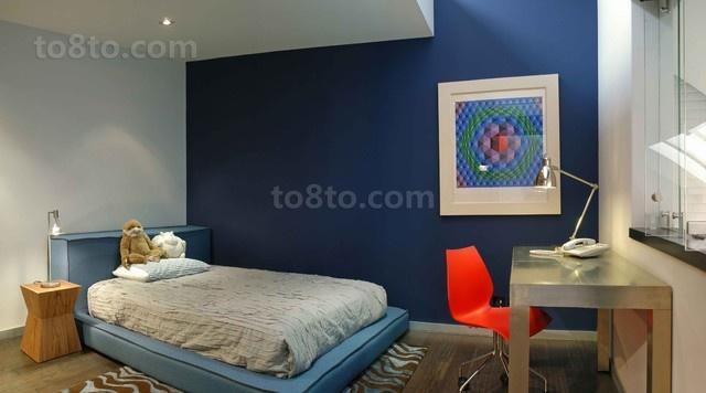 89平米小户型欧式蓝调卧室装修效果图