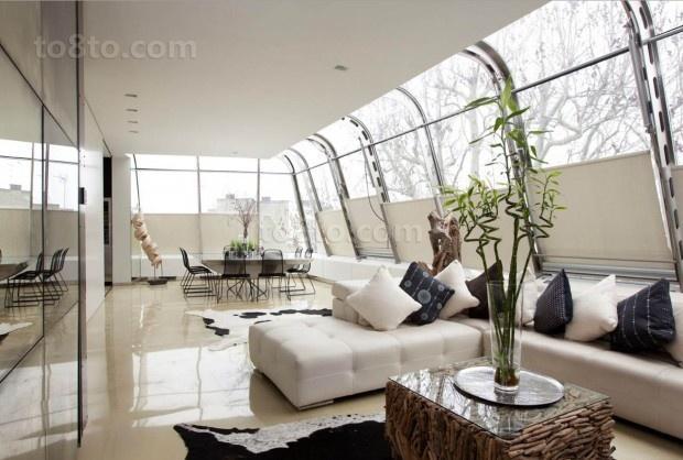 简约清爽的二居室飘窗装修效果图