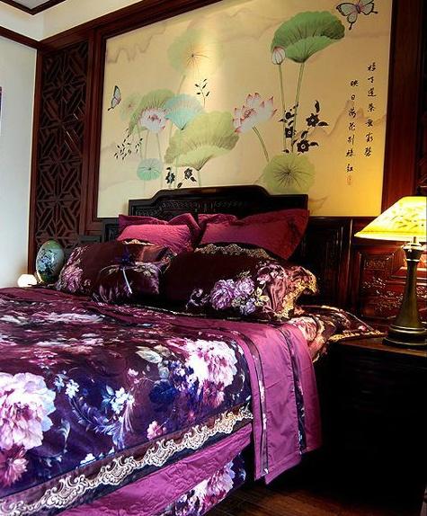 17万打造中国风主题中式风格卧室背景墙装修效果图大全2012图片