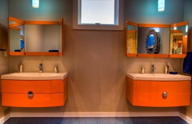 30万打造现代风格复式卫生间样板房装修效果图
