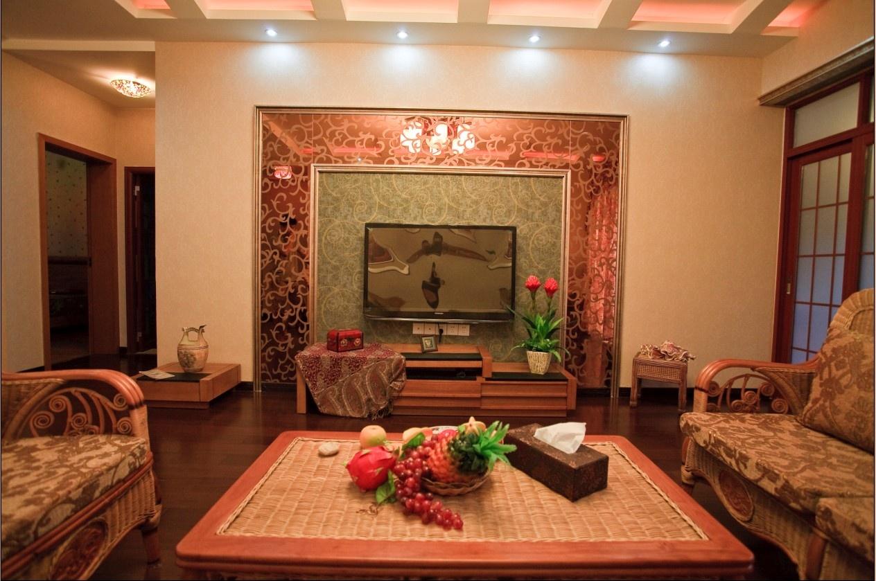 田园客厅茶镜电视背景墙装修效果图