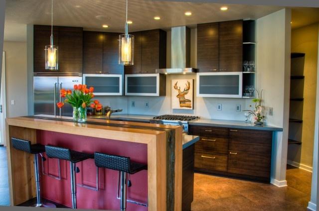 30万打造现代风格复式厨房橱柜样板房装修效果图