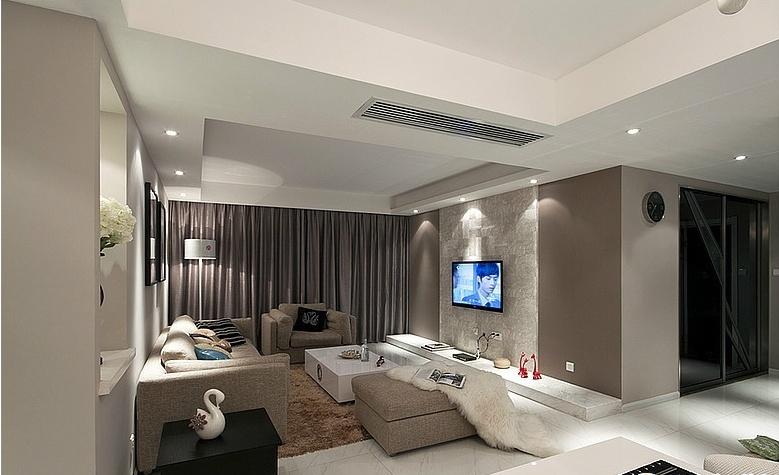 现代风格家庭二居客厅装修效果图