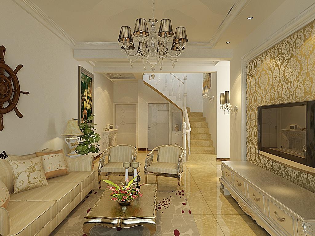 30万打造地中海风格客厅电视背景墙装修设计