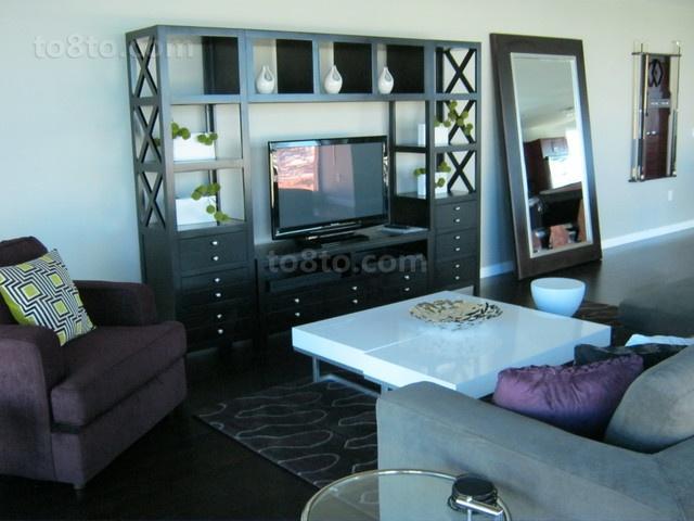 12万打造的舒适现代风格客厅电视背景墙装修效果图大全2014图片