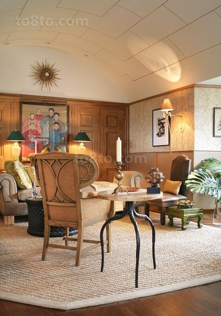 中式内蕴的客厅吊顶装修效果图大全2014图片