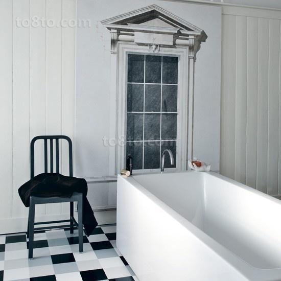 黑白简约三居室卫生间装修效果图大全2012图片