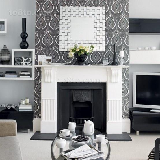 黑白经典配色打造现代复式楼客厅装修效果图