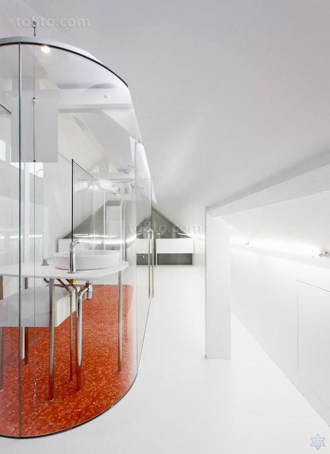 简约复式楼透明的卫生间装修效果图大全2014图片