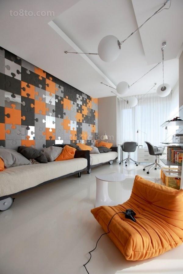 现代二居室客厅沙发背景墙效果图
