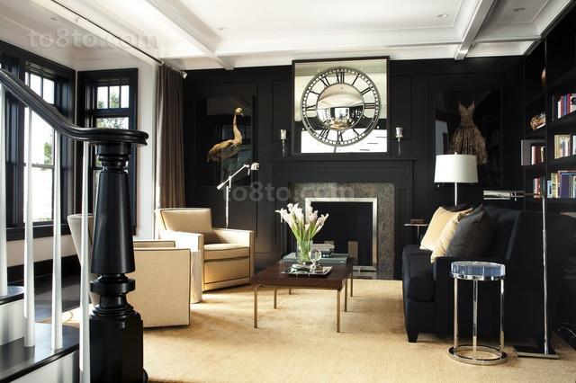 黑白分明打造现代别墅客厅装修效果图大全2012图片