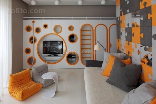 现代二居室客厅电视背景墙效果图