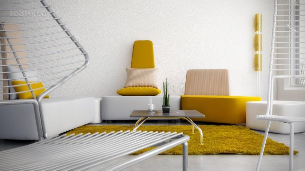 简约明朗的色彩打造小户型客厅装修效果图