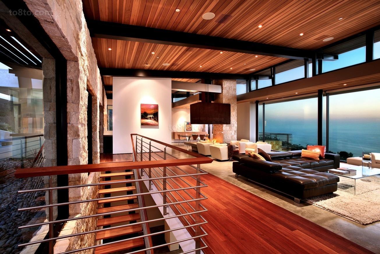 180平美式复式楼客厅装修效果图大全2014图片
