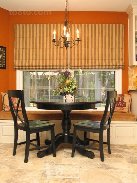 17万打造原木气息美式风格餐厅窗帘装修效果图大全2014图片