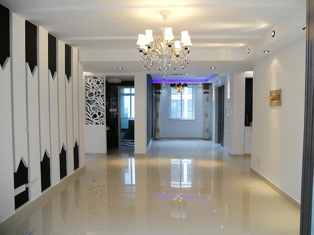简约黑白色彩打造客厅玄关装修效果图大全