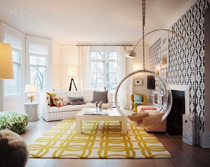 北欧小户型淡黄色清新的客厅装修效果图